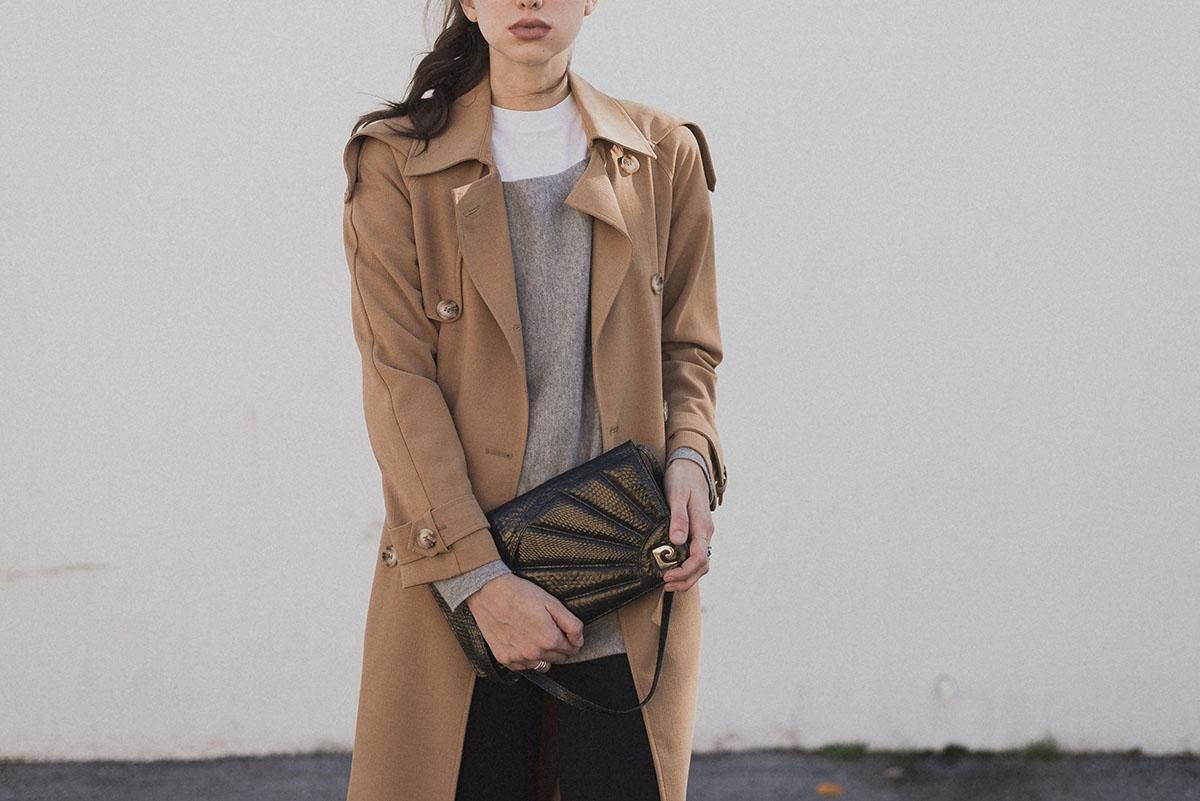 Ana Prodanovich wearing a camel coat.