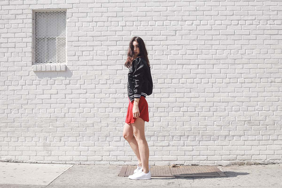 Ana Prodanovich wearing an Urban Renewal recycled bomber jacket by Urban Outfitters.