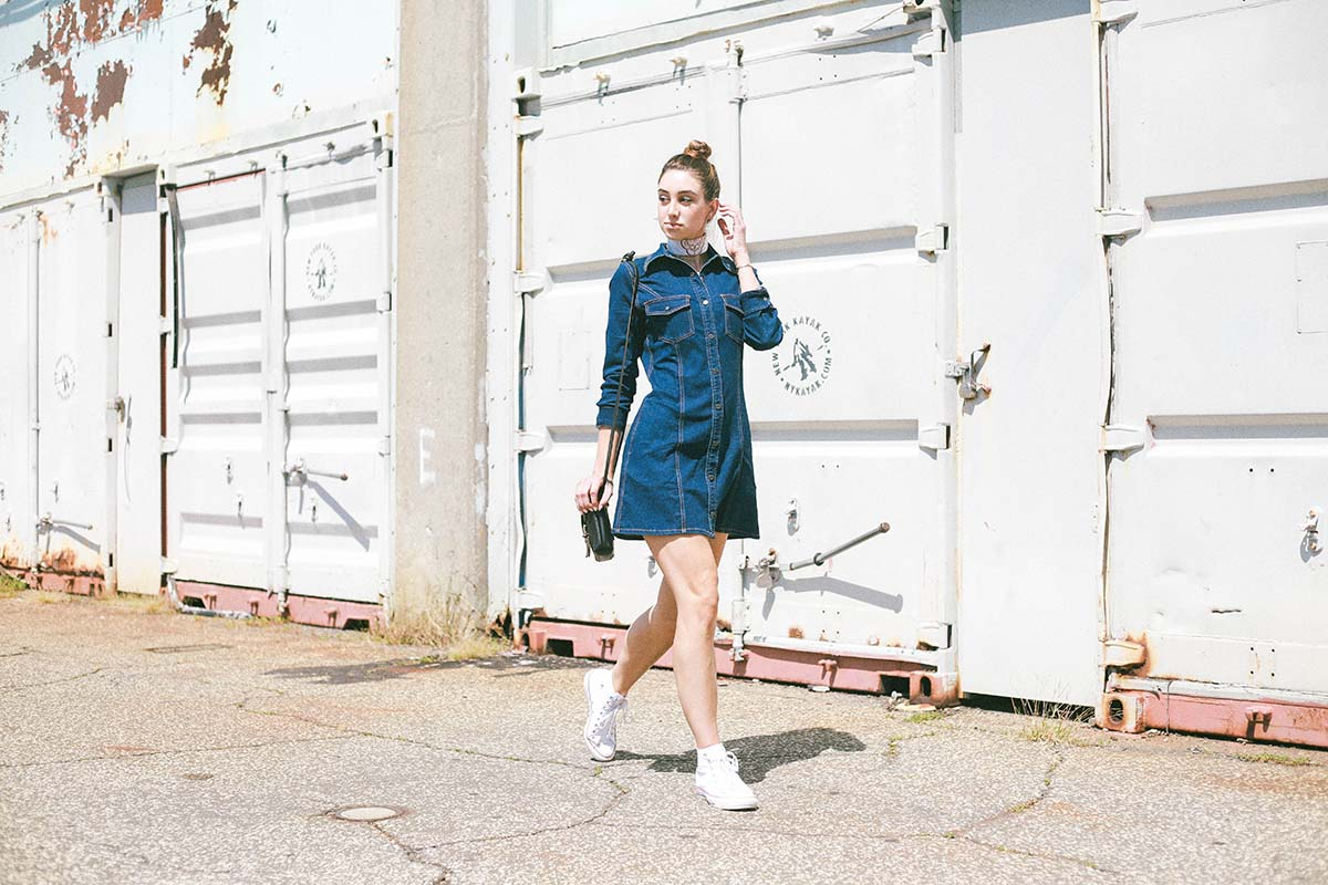 Ana Prodanovich wearing a denim dress from Mango to fall for.