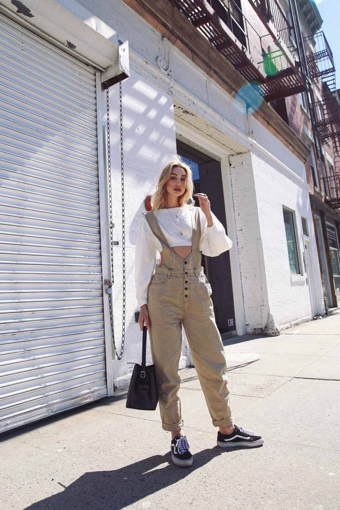 Ana Prodanovich wearing overalls from Urban Outfitters.