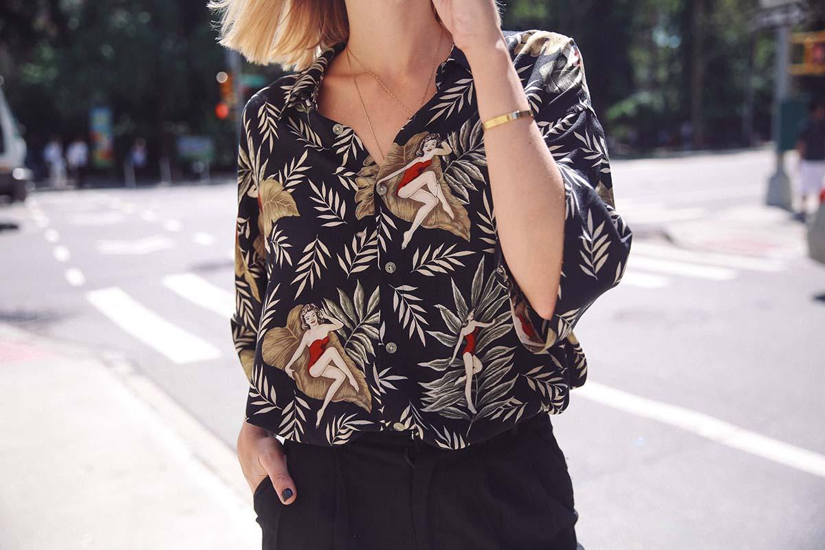 Ana Prodanovich wearing the Aloha shirt.