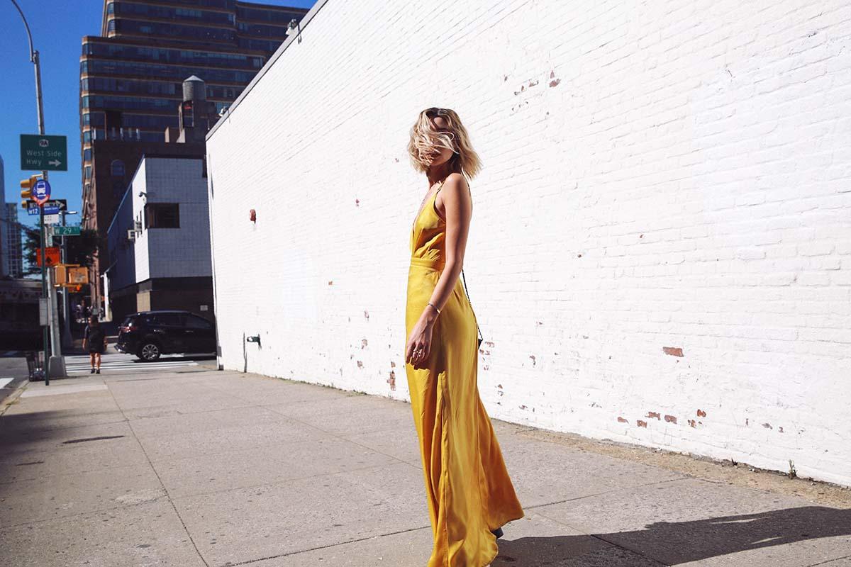 Ana Prodanovich wearing a mustard yellow dress from Nordstrom Rack.
