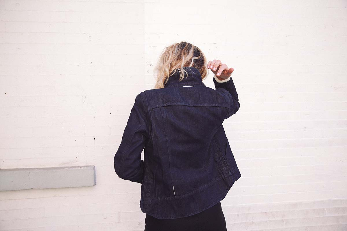 Ana Prodanovich wearing the Levi's x Google Jacquard Trucker style jacket.